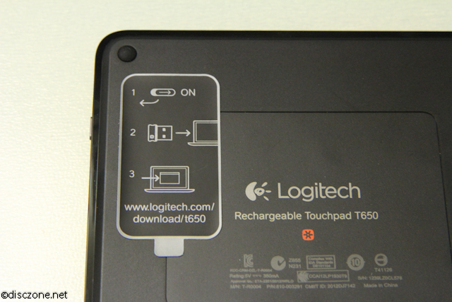 Logitech T650 Touchpad - Touchpad Bottom Instructions